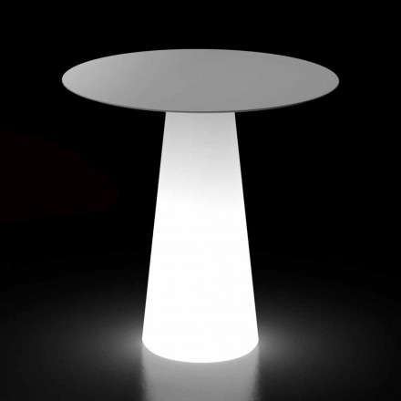 Table design d'extérieur avec base lumineuse LED Made in Italy - Forlina