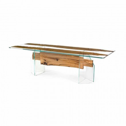 Table rectangulaire en bois de Briccola et verre Venezia