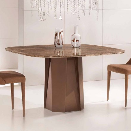 Table de Design en Marbre Emperador Dark 130x130 cm , Made in Italy –Nuvolento