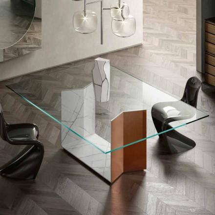 Table en métal et marbre avec plateau en verre de luxe Made in Italy - Minera