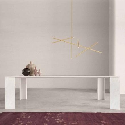 Table de Design Made in Italy en Marbre Blanc Namibia , 210x110 cm -Monastero