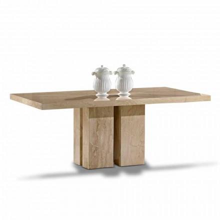 Table de luxe au design moderne, plateau en marbre Daino fabriqué en Italie - Zarino