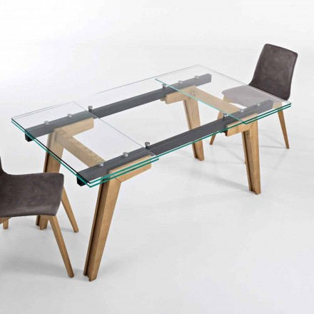Table extensible en verre et bois massif made in Italy, Dimitri