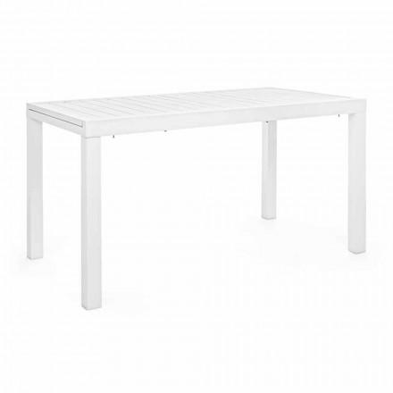 Table de jardin extensible jusqu'à 240 cm en aluminium blanc ou tourterelle - Franz