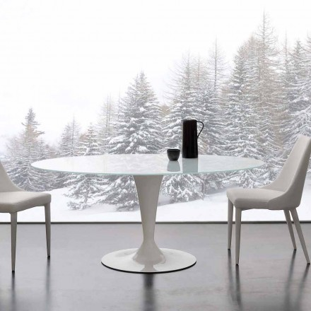 Table Aurora en verre trempé extrawhite en acier