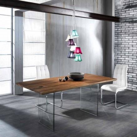 Table de salle à manger en bois massif avec pieds en verre trempé Tito