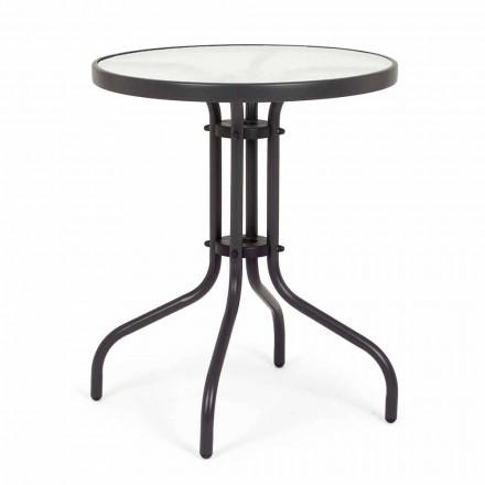 Table de jardin ronde en acier avec plateau en verre design - Purizia