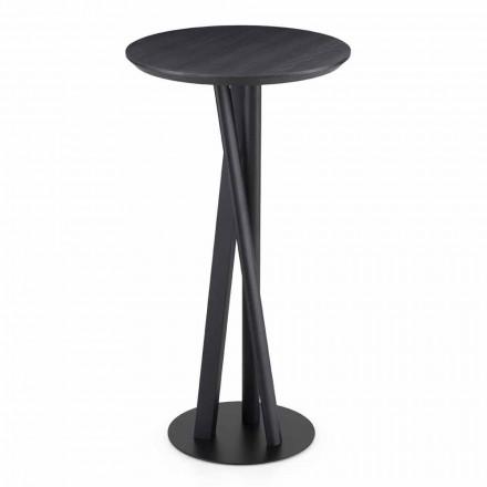 Table en frêne massif et métal avec plateau rond Made in Italy - Baden