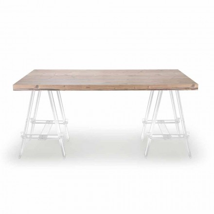 Table en bois avec tréteaux en plexiglas Made in Italy - Chevalet