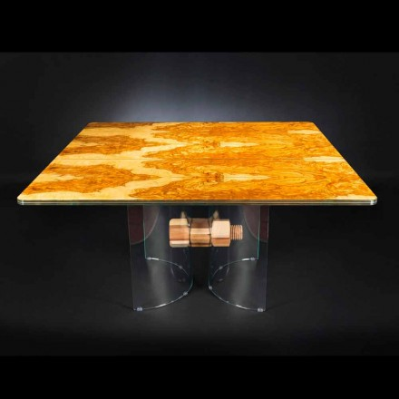 Table carrée en bois d'olivier et verre Portofino