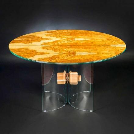 Table ronde en bois d'olivier et verre Portofino