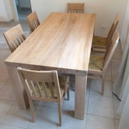 Table en bois de frêne massif de conception classique fabriquée en Italie - Nicea