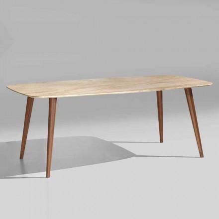 Table Moderne de Haute Qualité en Marbre et Bois de Noyer Fabriquée en Italie - Hercules