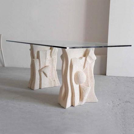 Table en cristal avec base en pierre naturelle de Vicenza Priamo