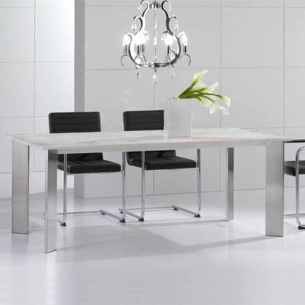 Table En Pierre Travertin Moderne Pieds Dacier Brillant Pompilio