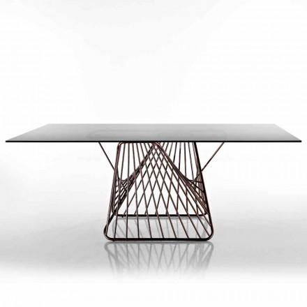 Table en verre trempé de design moderne fait en Italie, Mitia