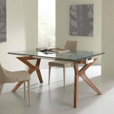 Table extensible Kentucky de design, en acier inox et verre trempé