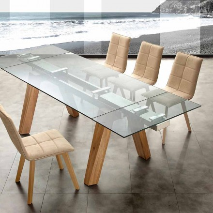 Table extensible Florida de design, en bois massif naturel et verre