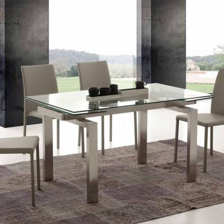 Table extensible Georgia, en verre trempé et acier