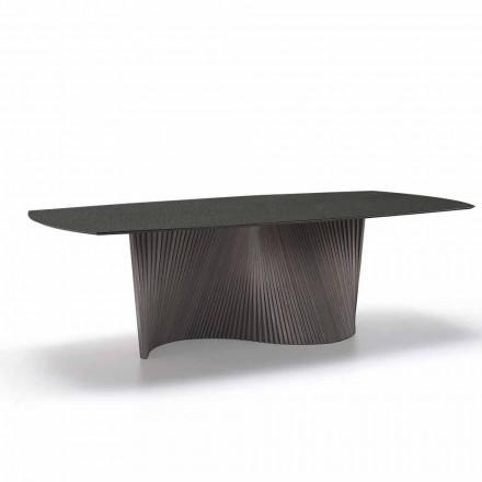 Table avec plateau en grès effet marbre fabriquée en Italie, Adrano