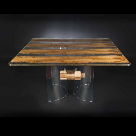 Table de design Venezia, en verre et bois, made in Italy