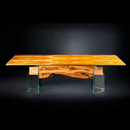 Table rectangulaire en bois d'olivier et verre Portofino