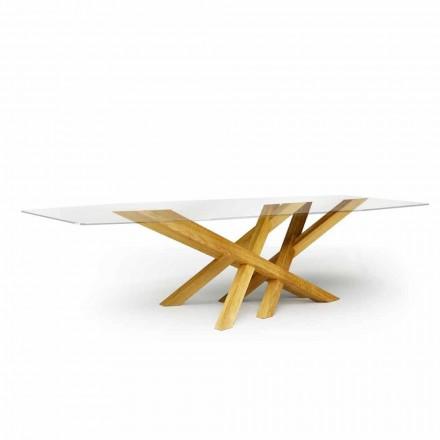 Table moderne en verre et chêne naturel produite en Italie Acciano