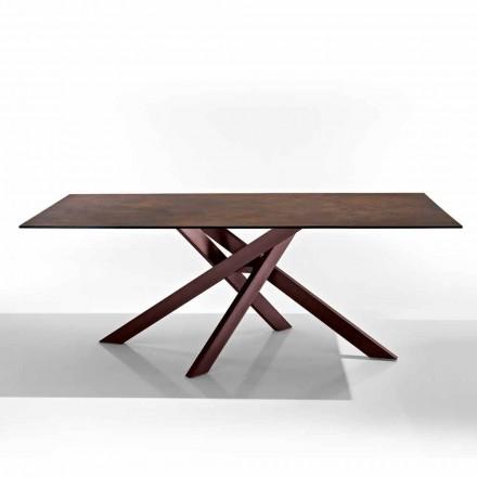 Table moderne en vitrocéramique et métal made on italy Dionigi