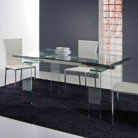 Table Atlanta en verre trempé transparent, design moderne