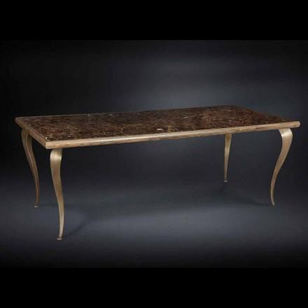 Table Adam avec pieds en bois massif et plateau en marbre