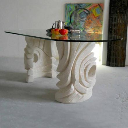 Table à manger en cristal, base en pierre naturelle de Vicenza Erinni