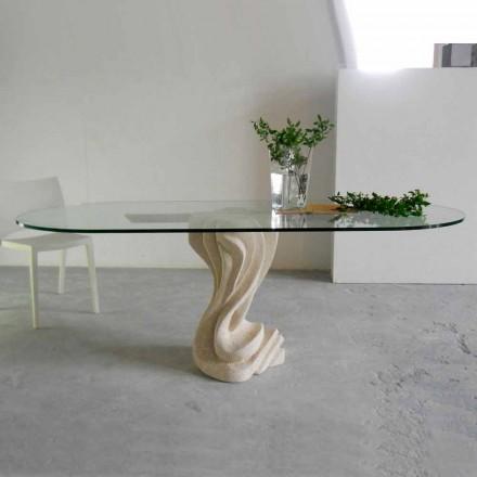 Table à manger en pierre naturelle de Vicenza,plateau en cristal Agave
