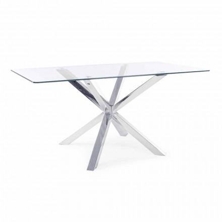 Table de salle à manger Homemotion avec plateau en verre trempé - Denda