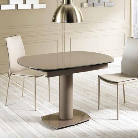 Table à manger extensible en verre et similcuir, L120/180xP90cm,Lelia