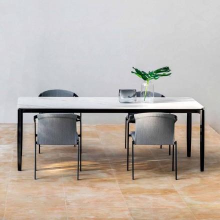 Table à manger de jardin en aluminium et Hpl ou Gres, différentes finitions - Filomena