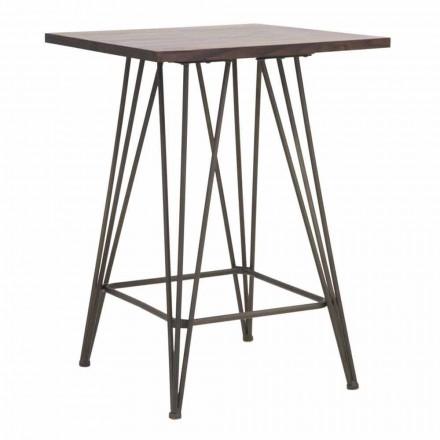 Table haute carrée industrielle en fer et bois - Helle