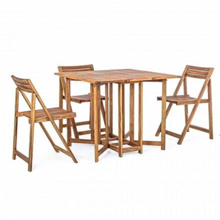 Table d'extérieur carrée en bois d'acacia avec 4 chaises pliantes - Sage