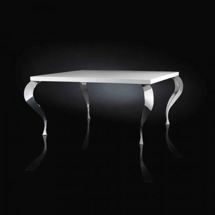 Table carrée fixe de design en MDF et acier chromé Luigi