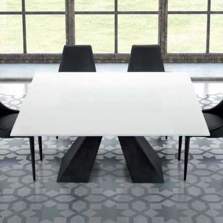 Table Carré en Verre Tempéré Extrablanc et Acier Made in Italy – Dalmata