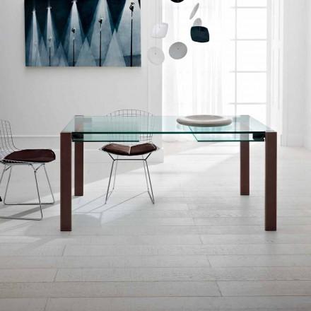 Table extensible jusqu'à 280 cm en verre transparent Made in Italy - Sopot
