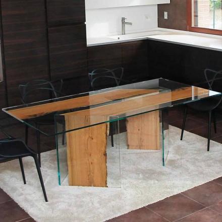 Table de salle à manger en bois de Briccola et verre San Marco