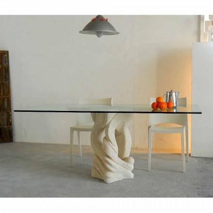 Table avec base en pierre de Vicenza et plateau en cristal Ascanio
