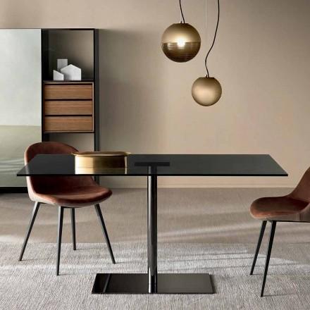 Table rectangulaire moderne en verre fumé ou extralight fabriqué en Italie - Dolce
