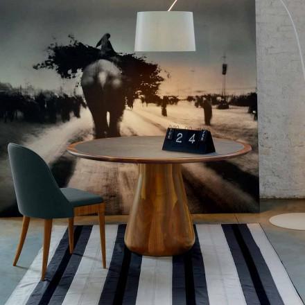Table ronde avec plateau en bois massif de noyer naturel, Carlo