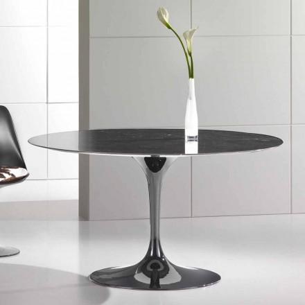 Table à manger ronde en marbre Marquinia de haute qualité fabriqué en Italie - Nerone