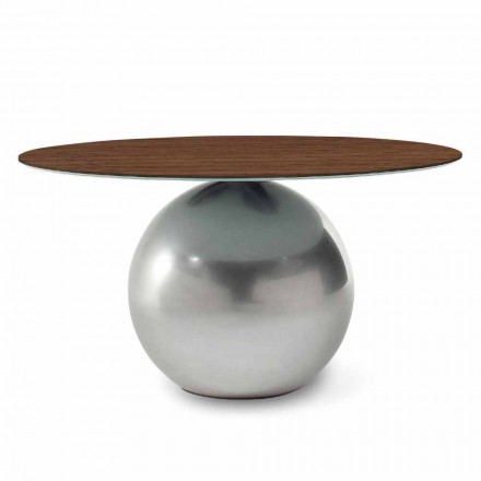 Table design ronde avec plateau en bois Made in Italy - Bonaldo Circus