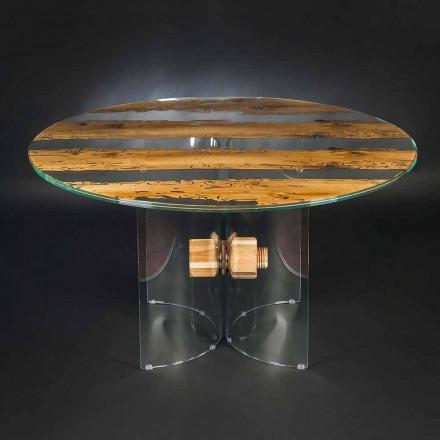 Table ronde Venezia en bois et verre, faite en Italie