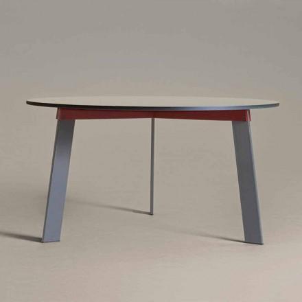 Table ronde design moderne en acier et MDF laqué coloré - Aronte