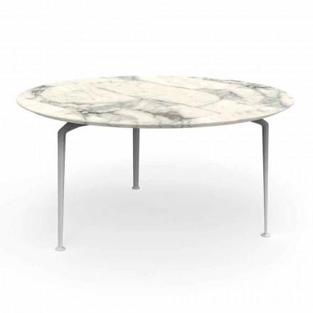 Table ronde d'extérieur en grès et aluminium au design moderne - Cruise Alu Talenti