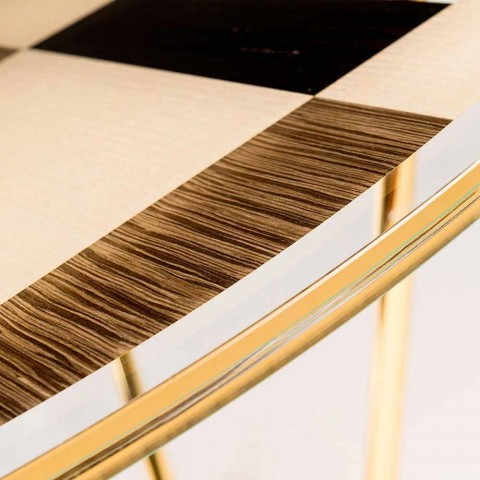Modeno Table ronde avec plateau en verre et des incrustations de bois Ozzy